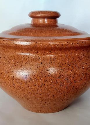 Супник без ручек из красной глины в глазури гранит