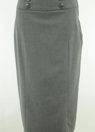 Серая деловая юбка-миди на подкладке