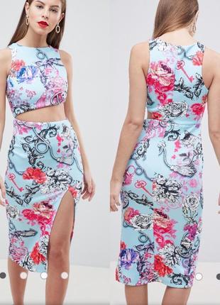 Платье футляр с вырезом asos и цветочным принтом