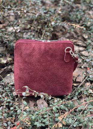 Замшевый бордовый клатч италия, цвета в ассортименте