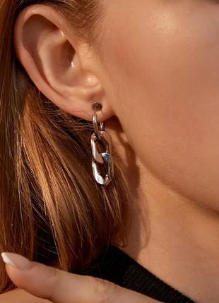 Клипсы серьги серёжки без проколов кольца цепи цепочки серебристые стильные новые