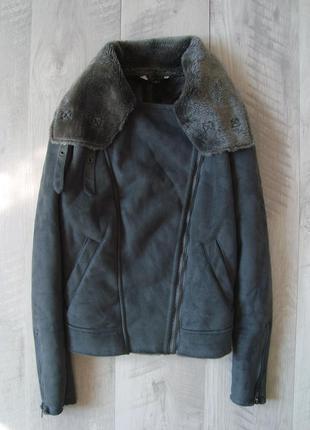 Актуальная меховая куртка косуха дубленка хл-3хл f&f