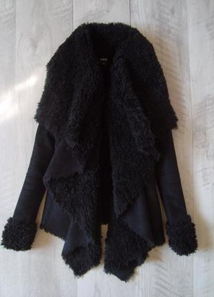 Крутая асимметричная куртка с мехом искуственная дубленка oasis