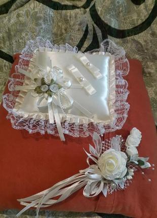 Подушка для колец + бутоньерка в подарок