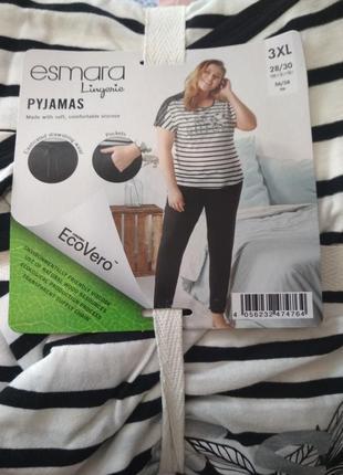 Батал! нежнейшая пижама, домашний комплект - футболка и штаны esmara, р. l, 2xl