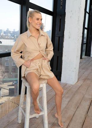 Пижама лен рубашка шорты свободный крой