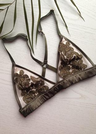 Стильный оливковый бюстгальтер бра браллет треугольная чашка без косточек вышивка сеточка