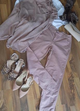 Пудрово - розовые котоновые брюки
