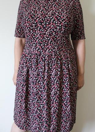 Хлопковое платье миди в цветочек next (размер 12-14)5 фото