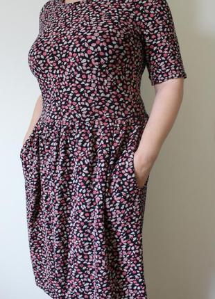Хлопковое платье миди в цветочек next (размер 12-14)6 фото
