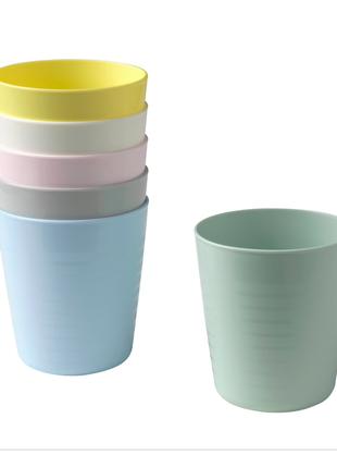 Стаканы, разные цвета, в наборе 6 шт