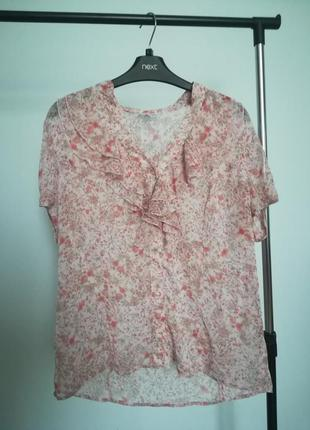 Нежная розовая блуза в цветочный принт
