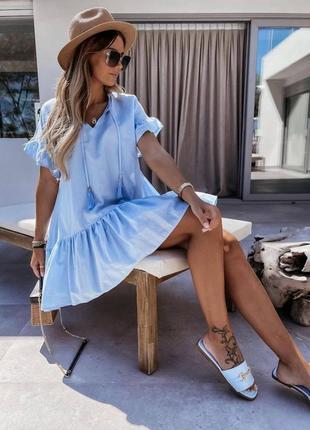 Платье свободное с воланами