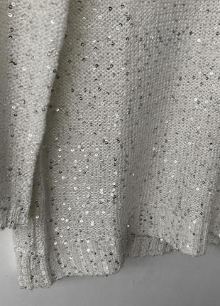 Роскошный сияющий белый реглан в пайетках, вязаный серебристый свитер