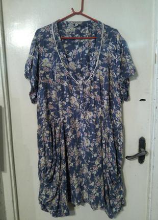 """Натуральное,платье с карманами,в стиле """"кантри"""",большой размер,joe brouns"""