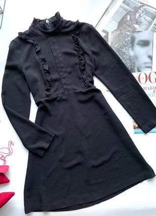 👗обалленное чёрное платье zara длинный рукав/чёрное короткое платье с рюшами под горло👗