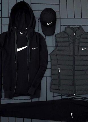Легкий весенний спортивный костюм комплект nike футболка жилетка черный
