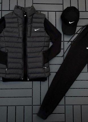 Легкий весенний спортивный костюм комплект nike черный жилетка безрукавка кепка