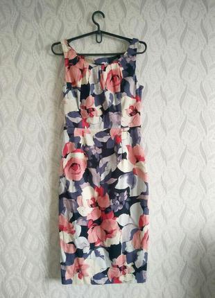 Coast натуральна котонова сукня-футляр у вінтажному стилі принт квіти троянди