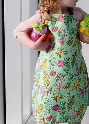 Фартук детский полноцветный фламинго 42х60 см (frtcd_21a009)
