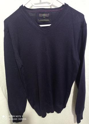Итальянский пуловер темно-синий нави натуральный 💯 woolmark pure меринос шерсть