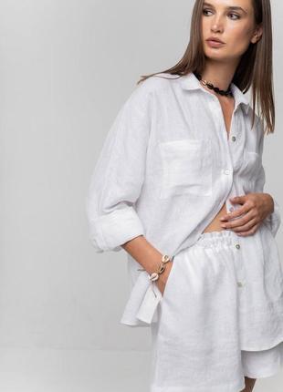 🌿 стильный льняной костюм : рубашка + шорты 🌿
