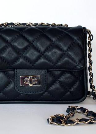 ... Стеганая темно-синяя кожаная сумка в стиле шанель, италия3 ... bc410d97a71