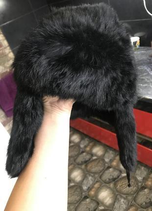 Натуральная шапка ушанка кролик