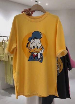 Модная футболка, р. уни 42-46,хлопок+полиэстер, желтый,розовый,черный