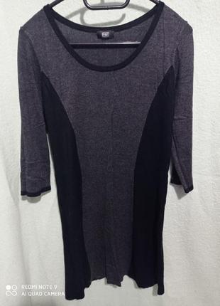 Платье чёрное серое трикотаж миди