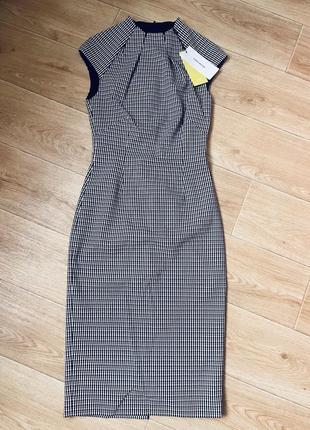 Новое платье  karen millen 97% шерсть в клетку, гусиную лапку
