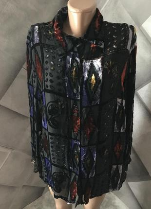 Шикарная блуза рубашка со вставками бархата