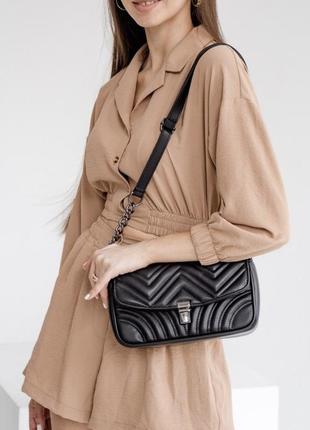 Женская сумка клатч с цепочкой стеганая кроссбоди через плечо