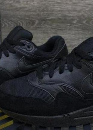"""Кожаные фирменные кроссовки nike air max 1 gs """"triple black"""" оригинал"""