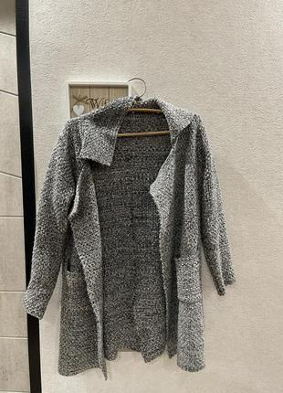 Твидовый серый весенний осенний кардиган жакет кофта