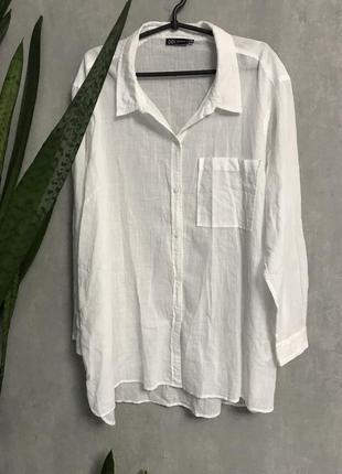 Белоснежная тонкая рубашка платье 100% cotton didi india