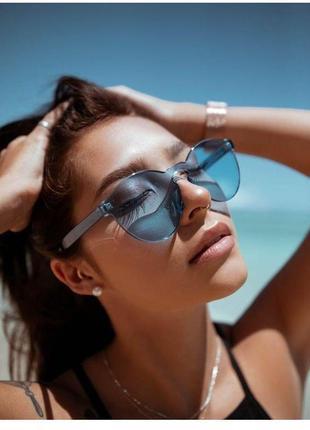 Стильные очки без оправы синие голубые