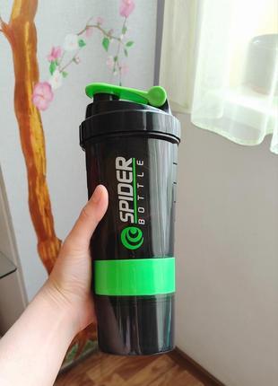 Шейкер-поилка с стаканом пластиковый 500мл   бутылка спорт для спорта йоги пауэрлифтинга