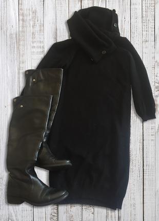 Теплое шерстяное платье с воротником хомутом