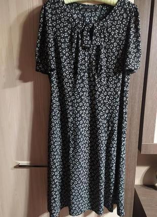Marks & spencer платье миди в мелкий цветочек в ретро стиле   xxl