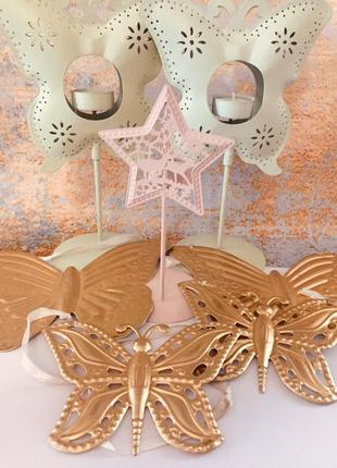 """Красивый праздничный декор """"бабочки""""-подсвечники и подвески"""
