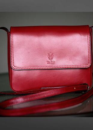 Кросс-боди на длинном ремешке цвета марсала-бордо-вишневый-красный 100%кожа