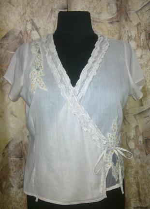 Фирменная блуза bandolera, тонкий коттон на лето, кружево, на запах, шикарное качество