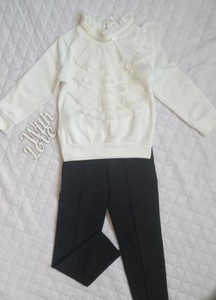 Костюм комплект на девочку блуза блузка штаны лосины на девочку рост 104 110