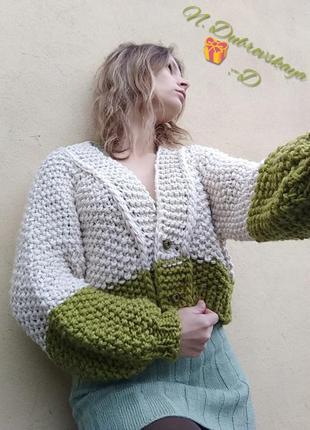 Модная, вязанная, объемная кофта, кардиган, с полушерсти, handmade