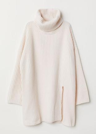 Шерстяное платье туника под горло молочного цвета