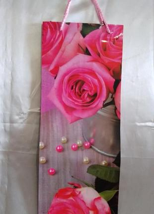 """Подарочный пакет под бутылку """"цветы""""."""