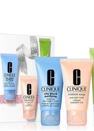 Clinique балдёжный набор из 3 масок для лица, идеальный уход за кожей