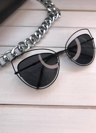 Новые женские солнцезащитные очки кошки черные с оправой