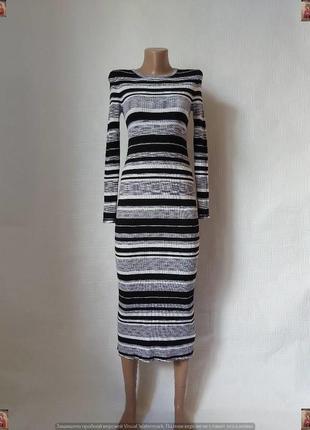 Фирменное f&f силуэтное платье миди-гольф на 83 % вискоза в полосы, размер с-м
